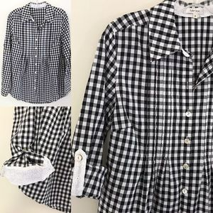 Tyler Boe Black/White Gingham Tunic Blouse Size 2